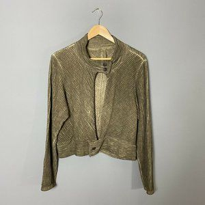 Cynthia Ashby Olive Green Ribbed Cropped Jacket